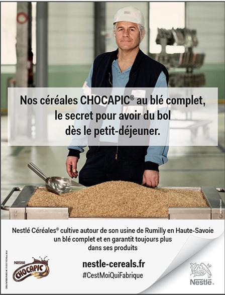 Affiche de la campagne publicitaire : Neslé #cestMoiQuiFabrique 2
