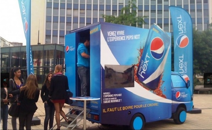 screenshot d'une campagne de street marketing Pepsi next close up