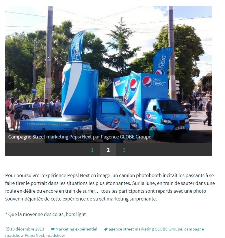 screenshot d'une campagne de street marketing Pepsi next