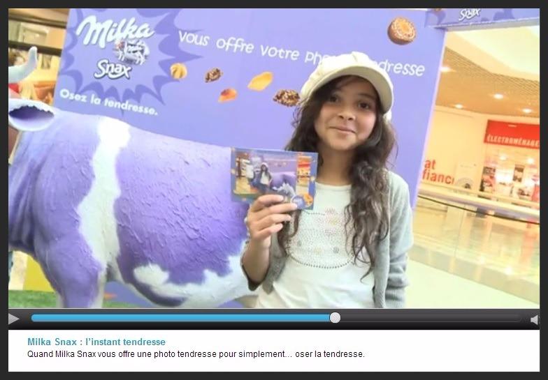 Screenshot d'une campagne publicitaire Milka snax