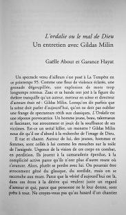 interview de Gildas Milin par Garance Hayat pour le magasine Coup de Théâtre. (4)